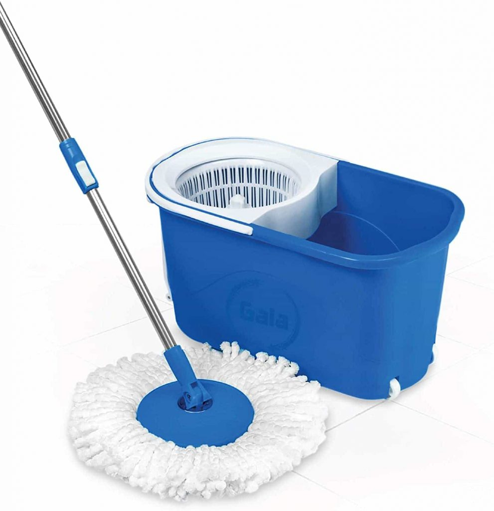 Gala Quick Spin Mop with Easy Wheels and Bucket with Free Refill